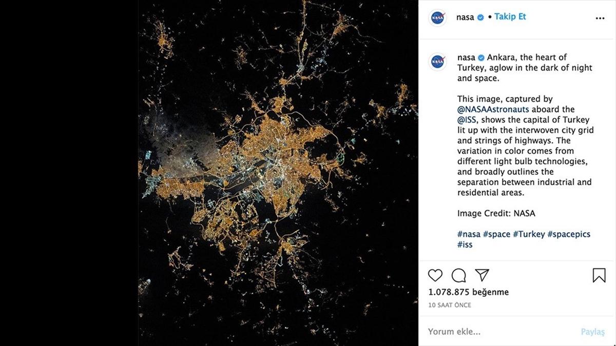 NASA, Ankara'nın uzaydan çekilmiş fotoğrafını paylaştı