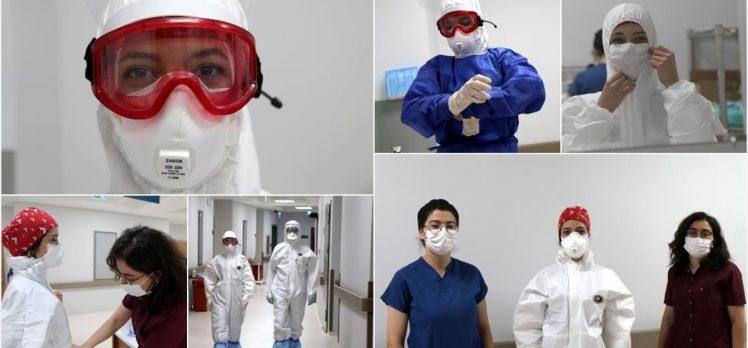 Kovid-19 ile mücadelenin 'beyaz melekleri' hastalara moral veriyor